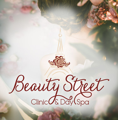 Beauty Street Clinic and Day Spa floral logo with a Paris style