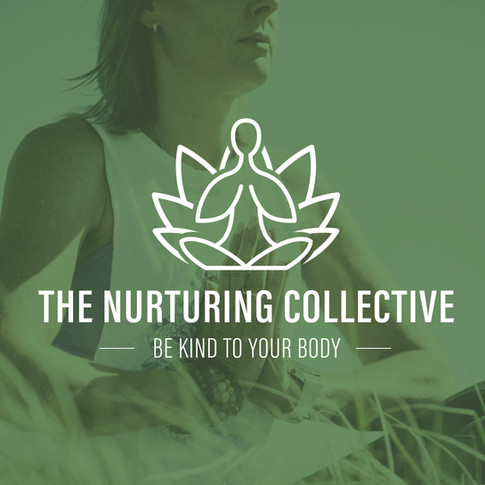 The Nurturing Collective logo - yoga and lotus flower icon