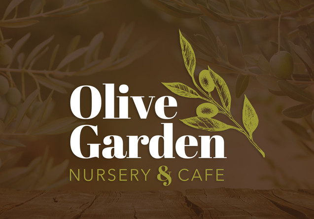 Olive Garden Nursery and Cafe floral logo with olives and leaves