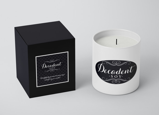 Decadent Soy Candle logo - black and white logo
