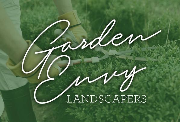 Garden Envy Landscapers logo with script text font logo