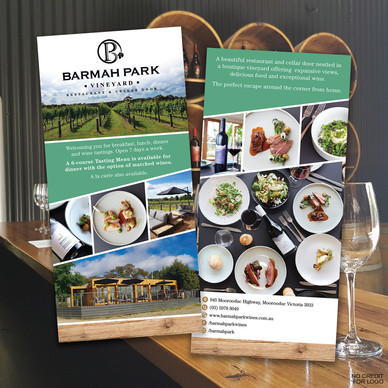Barmah Park Winery DL advertising card