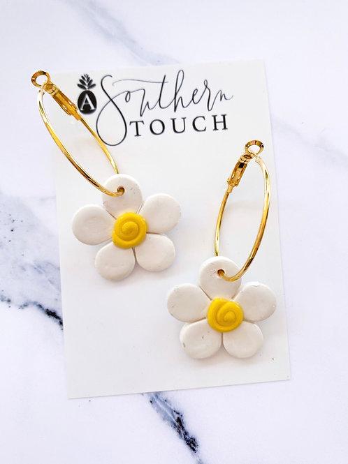 White Flower Hoops
