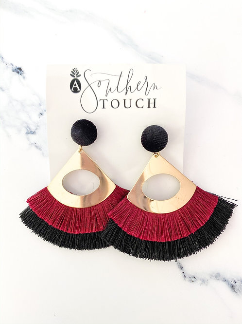 Maroon & Black Tassel earrings