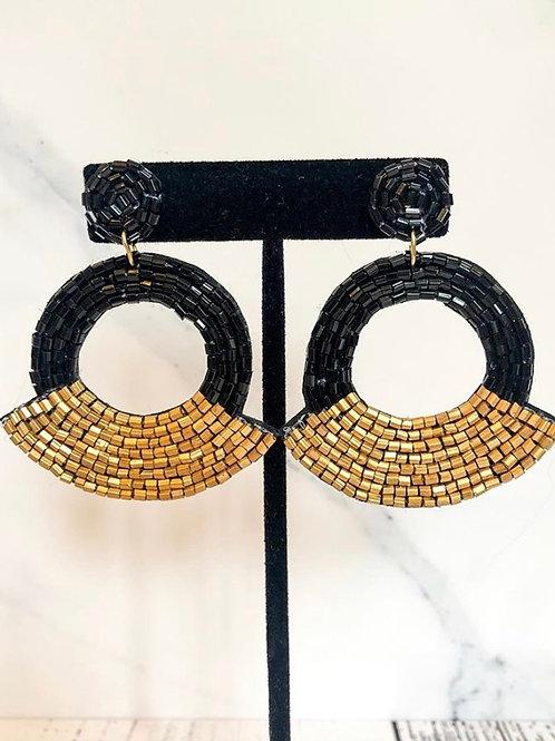 Black & Gold Beaded Earrings