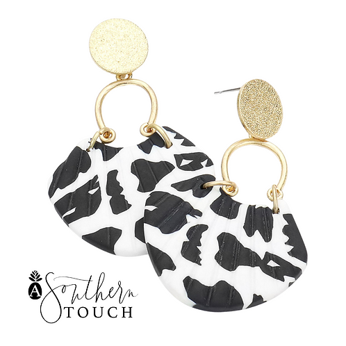 Black and White dangle earrings - Small clay collection