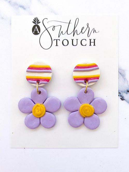 Lavender flower clay earrings