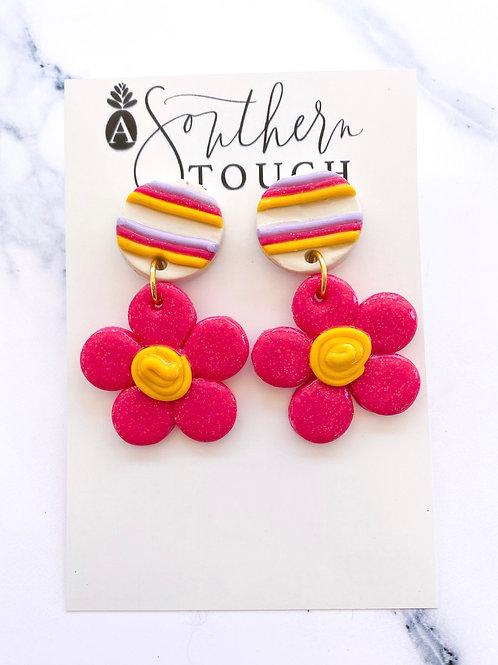 Pink flower clay earrings
