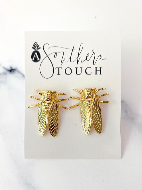 Small Golden Bug Studs
