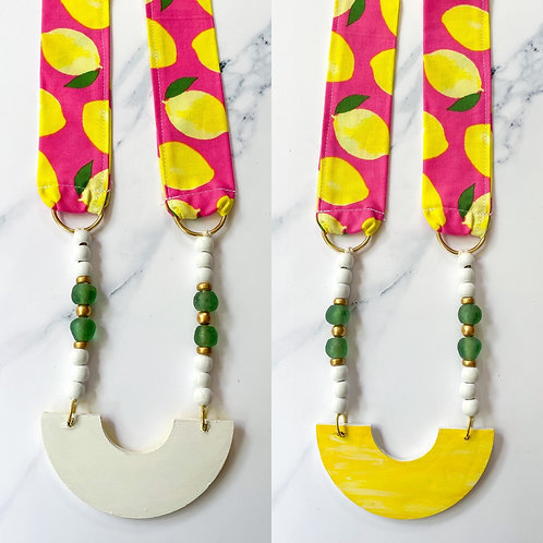 Flip Side Necklace - Lemon Fabric