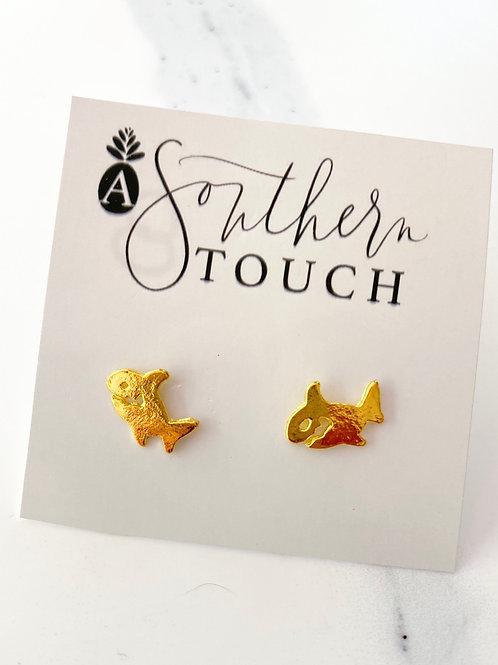 Gold Shark Studs