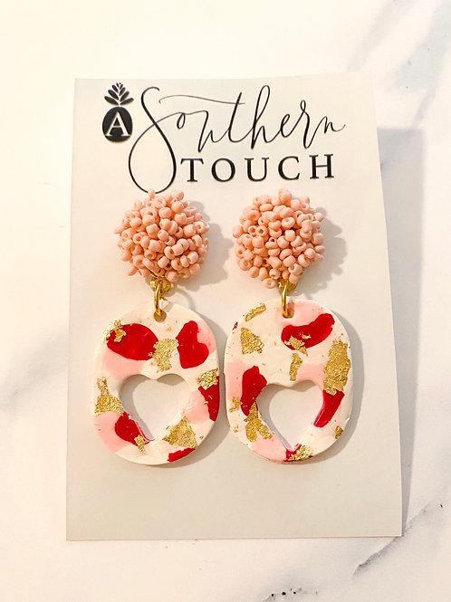 Valentine's Clay Earrings- Beaded Top