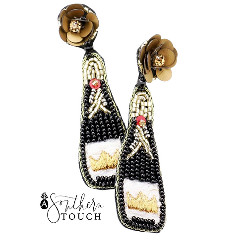Crown bottle beaded earrings