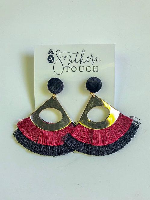 Garnet and black tassel earrings