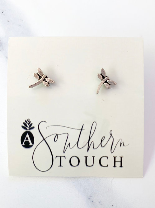 Tiny Dragon Fly studs in Silver