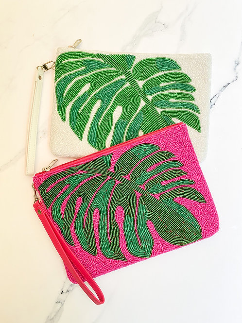 Beaded Palm Large Clutch