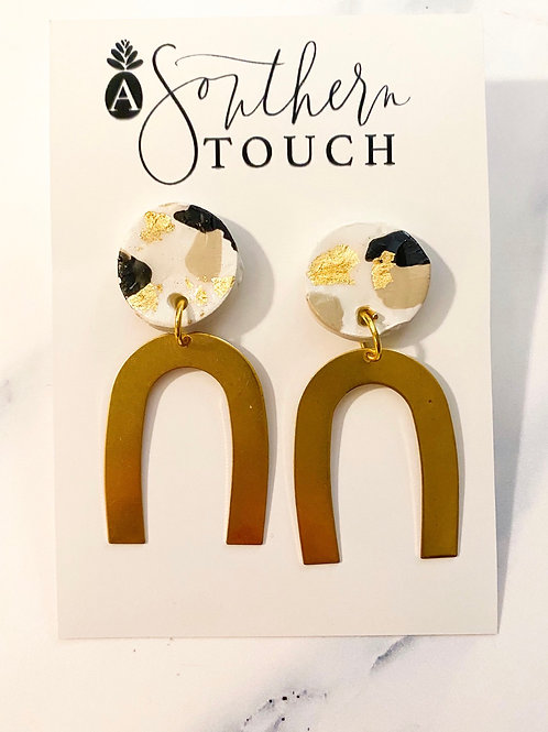 Clay Earrings with Gold Arch