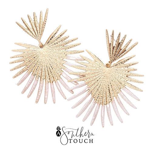 White dipped Star Burst Earrings