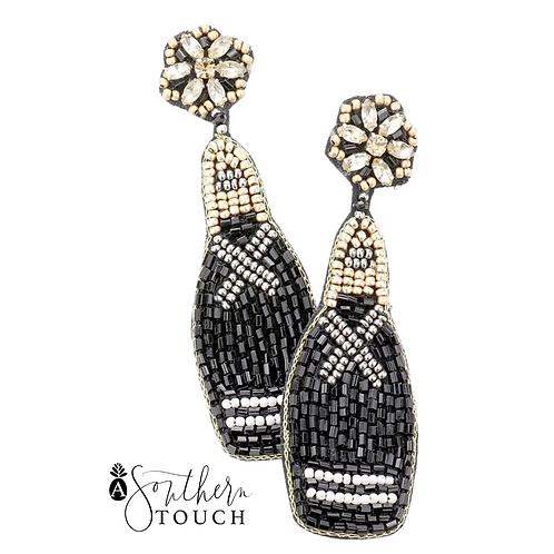 Black Beaded Champagne Bottle Earrings