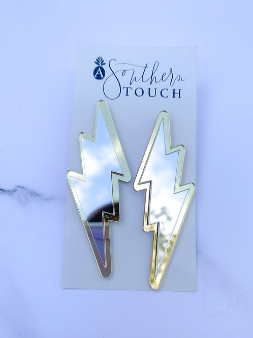 Large mirrored bolt earrings