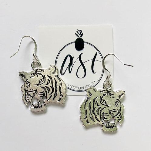 Silver tiger earrings