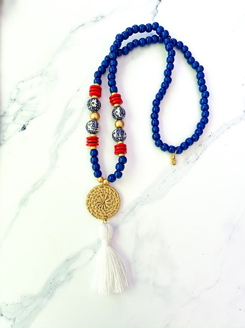 Festive Necklace with White Tassel
