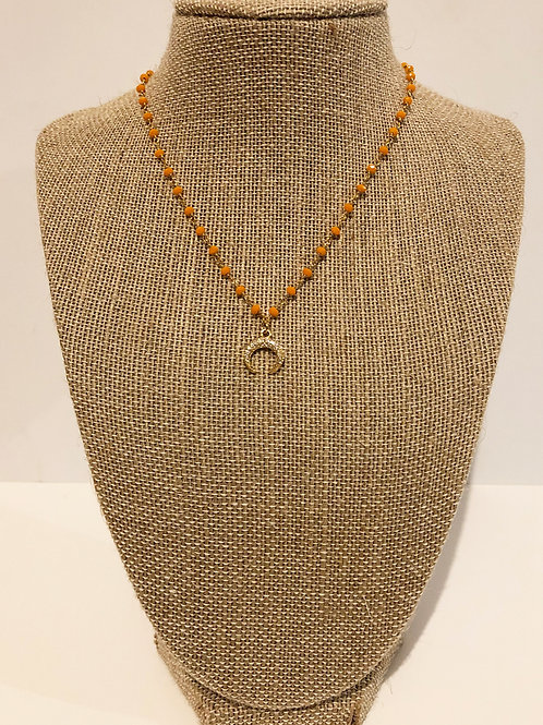 Pave Horn on Orange Chain