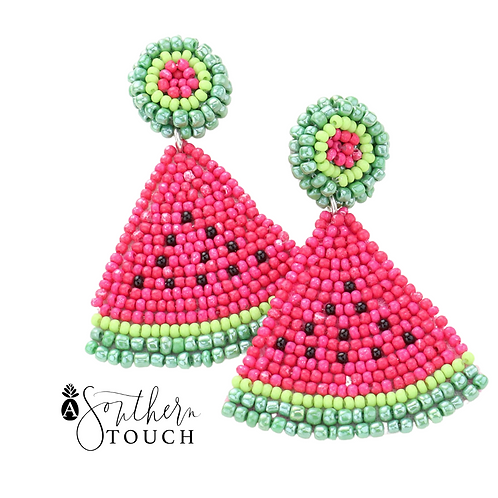 Beaded Pink Watermelon Earrings