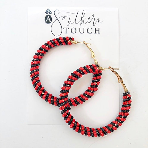 Black and red beaded hoops