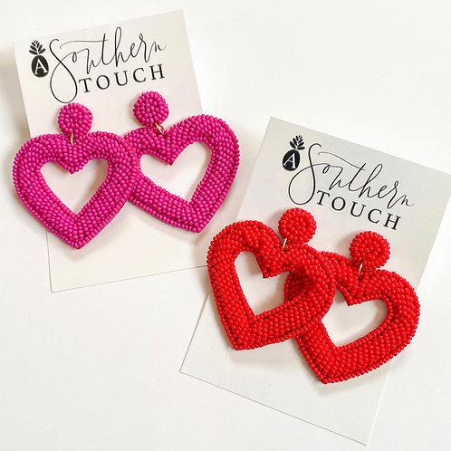 Beaded Open Heart Earrings