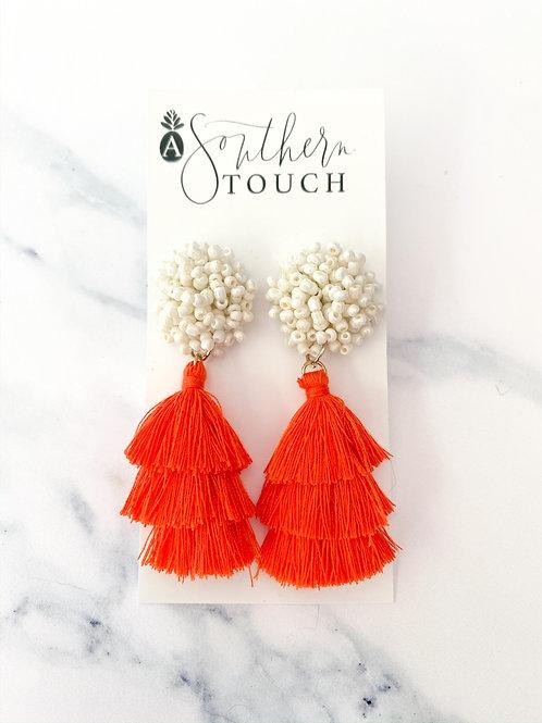 The Larken Earrings in Orange & White