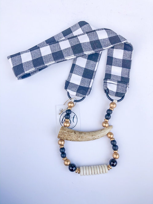 Buffalo Check Antler Necklace - The Justine
