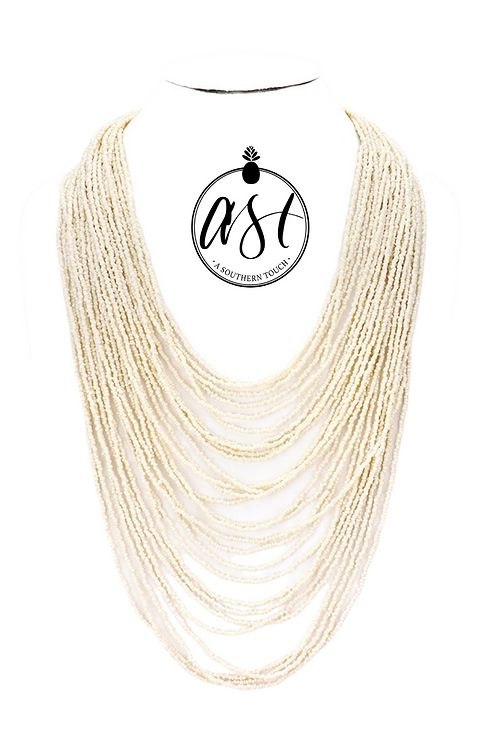 Multi Layer Beaded Necklace in Ivory