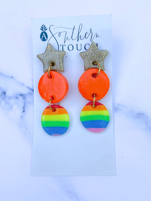 Clay Earrings - Rainbow