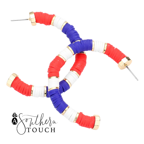 Red White & Blue Hoops