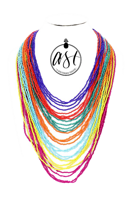 Multi Layer Beaded Necklace in Rainbow