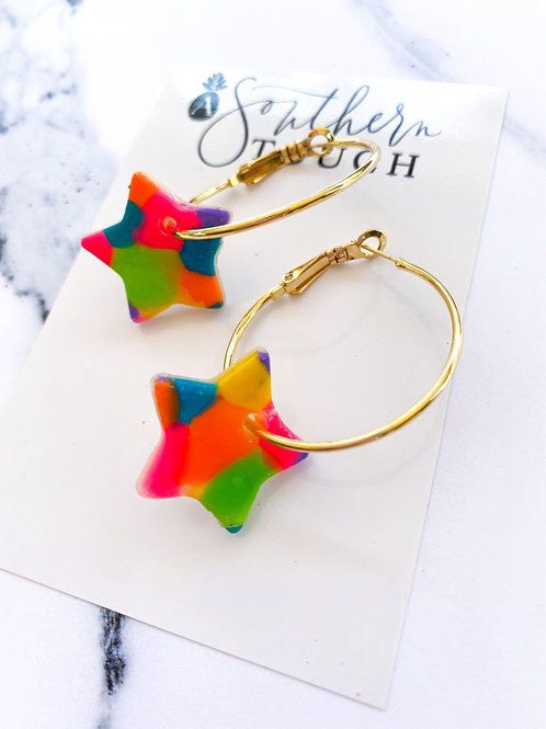 Colorful Star Hoops