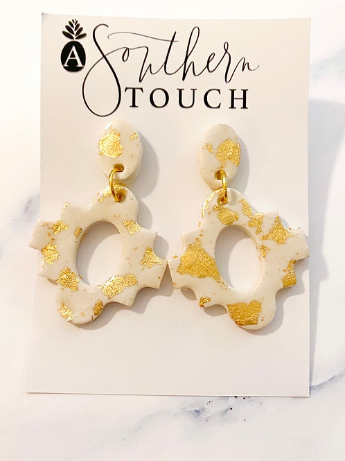 White and Gold Sheila Clay Earrings