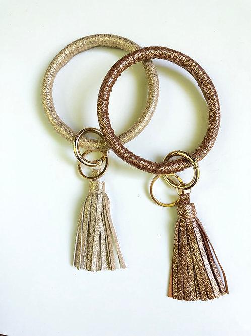 Metallic Polka Dot O Ring Keychain
