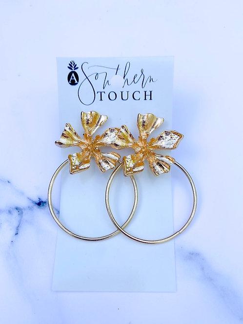 Gold Flower Hoops