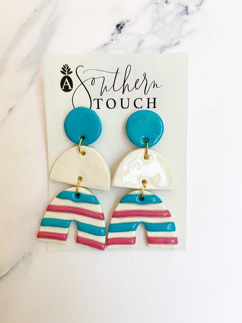 Gender Reveal rainbow Clay earrings
