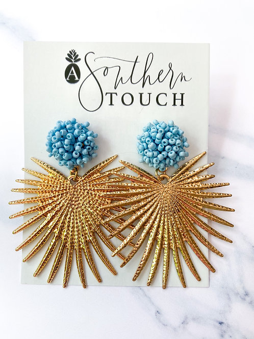 Blue Beaded Sunburst dangles