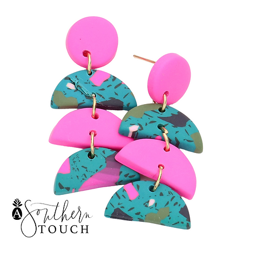 Hot Pink clay earrings - Small clay collection