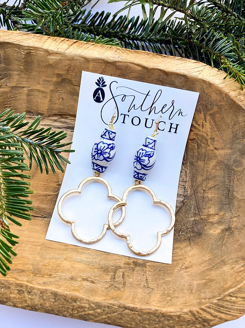 Chinoiserie dangle earrings