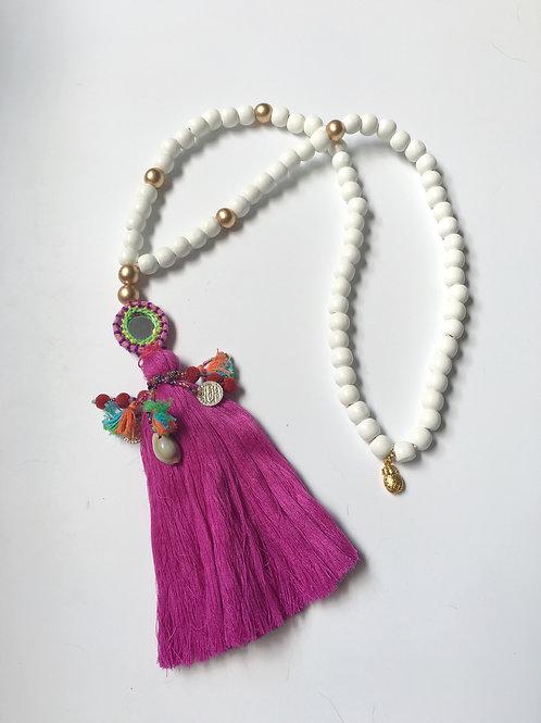 Boho Long Tassel Necklace - Fushia