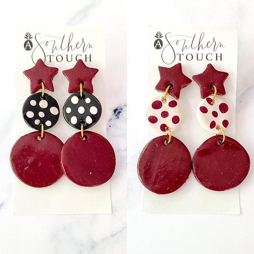 Clay earrings - garnet stars