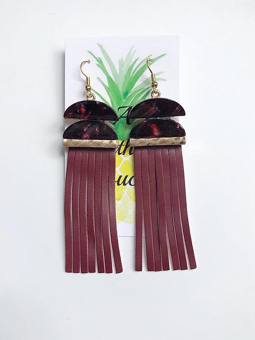 Leather Tassel Earrings - Garnet