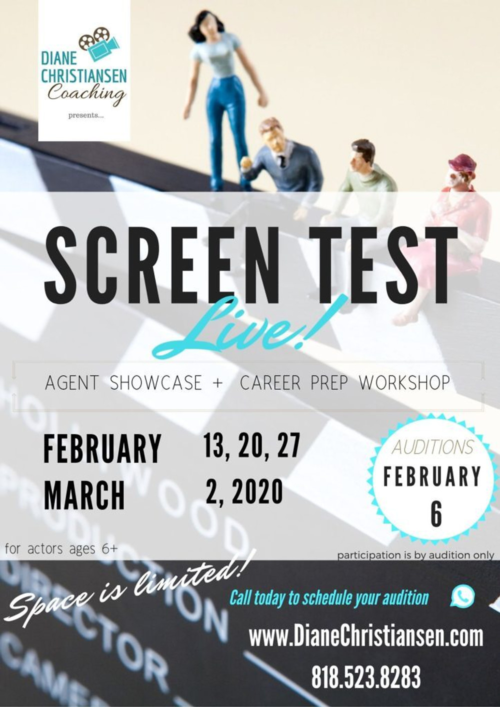 screen test live agent showcase and career prep workshop. AUDITIONS FEB. 6 - call to schedule