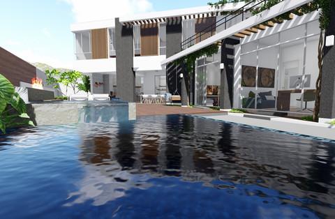 piscina e área externa