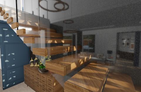 detalhe escada flutuante com vidro estrutural